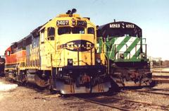 Three of the many BNSF colors